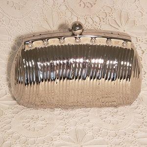 NWT Sasha evening clutch, silver